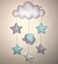 Personnalisé Bébé éléphant nuage étoile Suspendu Pépinière Mobile Décoration Murale