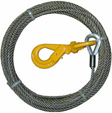 "B/A PRODUCTS STEEL CORE 3/8"" X 50' WINCH CABLE SELF LOCKING SWIVEL HOOK"