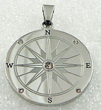 Compass Stainless Steel Pendant Necklace Silver Ship Clear CZ Nautical