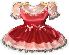 """Ruthie"" Custom Fit Red & Pink SATIN Adult LG Baby Sissy Dress LEANNE"