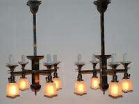 Set of 9 Oxidized Copper Beardslee Chandeliers & Pendant Lights Japanned Flash