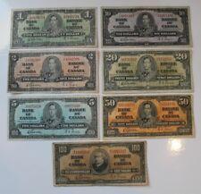 Canada - 1937 $1 to $100 Set, same signatures.