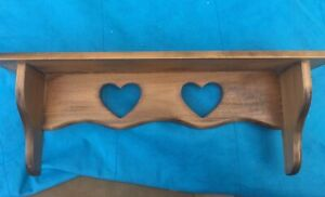 """Vtg Natural Solid wood wall shelf heart cut out w/ plate groove Country 18"""""""