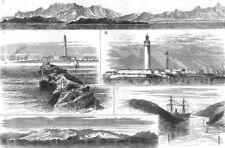 EGYPT. Red Sea;Port Said;Lighthouse Alexandria;Suez Canal;Shadwan-Carnatic, 1875