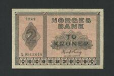 More details for norway  2 kroner  1949  p16b  very fine  world paper money