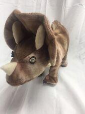 """Triceratops Dinosaur Stuffed Animal Hug Fun 15"""" GLOWING EYES ROARING MOVING"""