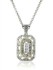 Women's White 14k Yellow Gold 925 Silver Pendant Art Deco Style Drop Necklace