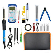 60W 110V Adjustable Temperature Electric Welding Soldering Iron Multimeter Kit