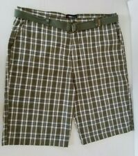 NBN Gear Shorts Green Plaid Mens Zip Pockets Belt Cotton Blend Size 48/3XL