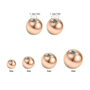 Wholesale 14G/16G Rose Gold Replacement BALLS Ear Belly Labret Body Piercing
