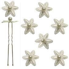 6 épingles pics cheveux chignon mariage mariée danse fleur dentelle perle ivoire