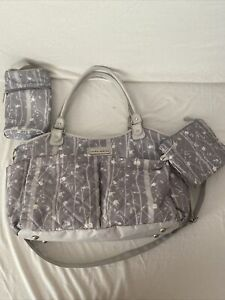 Laura Ashley 4 in 1 Floral Tote Diaper Bag, Gray