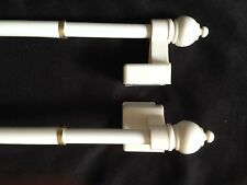 """White! Magnetic Sidelight Cafe Curtain/Towel Rod!!! 8 3/4""""-15 3/4""""!! LOT OF 2!"""