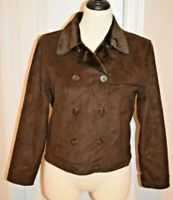 HARVE BENARD Size 10 Dark Brown SOFT Double Breasted Sueded Jacket