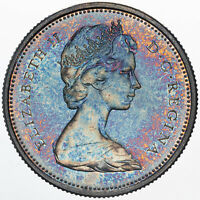 1967 CANADA 25 CENTS LYNX SILVER PROOF TONED BU COLOR STRIKING UNC BLUE (DR)