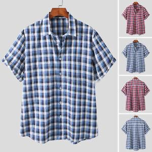 UK Mens Short Sleeve T Shirt Cotton Linen Shirt Causal Loose Fit Blouse Tee Tops