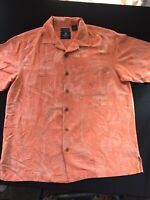 Caribbean Joe Hawaiian 100% Washable Silk Mens Maui Peach Shirt Size Med