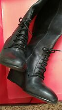 "Authentic Steve Madden Luxe Black Leather Tall Pull On 3-1/2"" Wedge Boots 7-1/2"