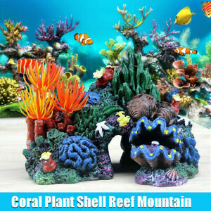 Aquarium Resin Mountain Rock Cave Coral Plant Shell Reef Fish Tank Ornament