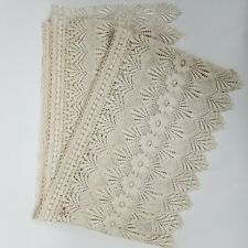 """Vintage European Scalloped Embroidery Crochet Lace Edging Trim, 13.5"""" Wide/ 174"""""""