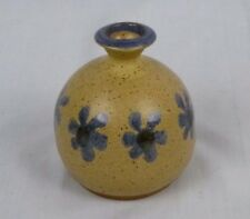Vtg 70s Art Studio Pottery Weed Pot w/ Blue Daisies Decoration  Unsigned