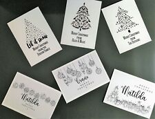 10 Personalised Christmas Cards Stylish Black and White Multi Designs Per Pack