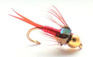 COPPER JOHN RED FLASHBACK GOLDHEAD TROUT FISHING FLIES - SIZE 10