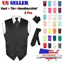 Men's Dress Vest NeckTie Hanky Solid Color Waistcoat Neck Tie Set Suit or Tuxedo