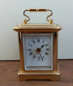 Small gold Carriage / Mantle Clock -  Quartz 7.5cm
