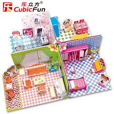 "Cubic-Fun Honey-Room ""Küche, Bad, Wohn- + Schlafz."" 3D-Puzzle Puppenhaus"