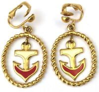 VINTAGE ANCHOR EARRINGS NAUTICAL ENAMEL GOLD TONE METAL AVON CLIP BACK JEWELRY