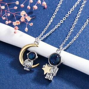 Star Moon Lovers Spaceman Korean Style Choker Fashion Jewelry Couples Necklace