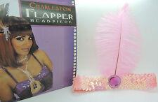 Ladies 20s Sequin Charleston Feather Headband Flapper Fancy Dress Accessories Baby Pink