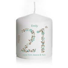 Personalised Birthday Floral Candle Gift Present Keepsake 18th 21st 30 40 Any