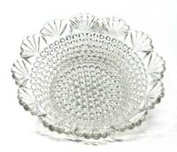 """Pretty Hobnail Clear Glass 8.5"""" DISH With Shell Pattern SCALLOPED EDGES Vintage"""