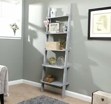 Home Source 5 Shelf Ladder Bookcase Grey Decorative Ornament Stand Modern Wooden