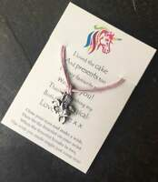Girl's Party Bag Filler, Unicorn Wish Bracelet on Personalised Thank You Card