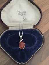 """Gorgeous 18"""" Marked Sterling Silver & Carnelian Necklace 4.92gr"""