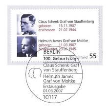 BRD 2007: Stauffenberg y von Moltke nº 2590 con sello de Berlín! 1a! 1606