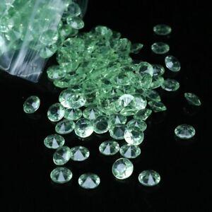 300pcs 8mm(2CT) Acrylic Diamond wedding Party Table 3D Decoration Light Green