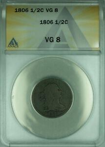 1806 US Draped Bust Half Cent 1/2c ANACS VG-8
