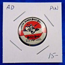 "Charter Member Peter Pan Club Advertising Pin Pinback Button 15/16"" Geraghty Co."