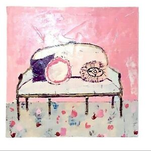 Grand Salon Canvas White Couch With Pink Background NIB