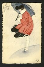 Handmade hand drawn / painted - young woman holds umbrella windy rainy day 1916