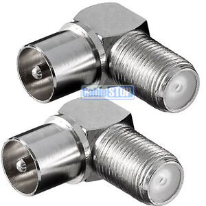 2 x RIGHT ANGLE MALE COAX to F TYPE FEMALE SOCKET TV Aerial Sky Connector