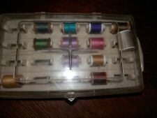 Vintage Plastic Sewing Box with Wooden Spools