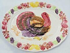 """Large 18.5"""" Vintage Japan Colorful Turkey Thanksgiving Serving Platter #3183"""