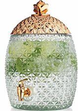 Glass Pineapple Large Drink Beverage Dispenser Push Spigot, 1.75 Gallons, Gold