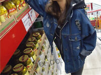 Korean Ripped Hole Girl Denim Loose Casual Jacket Oversize Jean Jacket Coat New