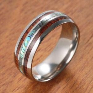 8mm Men's Wedding Bands Titanium Koa Ebony Gabon Wood & Shell Inlay Ring